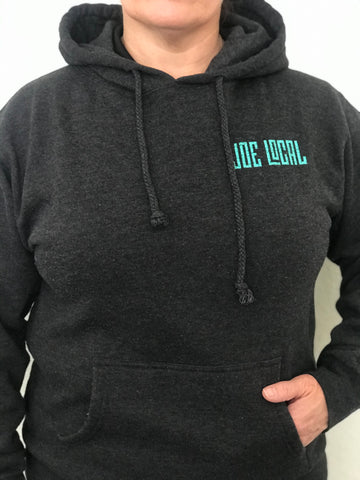 Women's mid-weight hoodie in dark gray. Joe Local mint green logo featured on left front pocket. Details of the fabric: Dark gray in color 80% Cotton/20% Polyester. jersey lined hood. Back of hoodie features large Joe Local flag logo in mint green featured at the bottom of the hoodie.