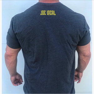 Joe Local Charcoal Grey with Yellow Distressed Logo