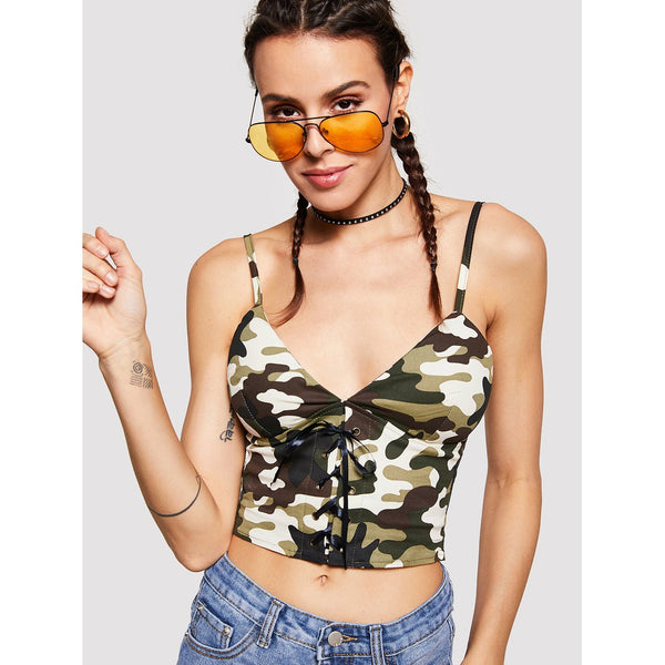 03f6d4b8a98 Item  Camouflage Lace Up Front Cami Top - Tank Tops and Camis - Stagioni  Women s ...