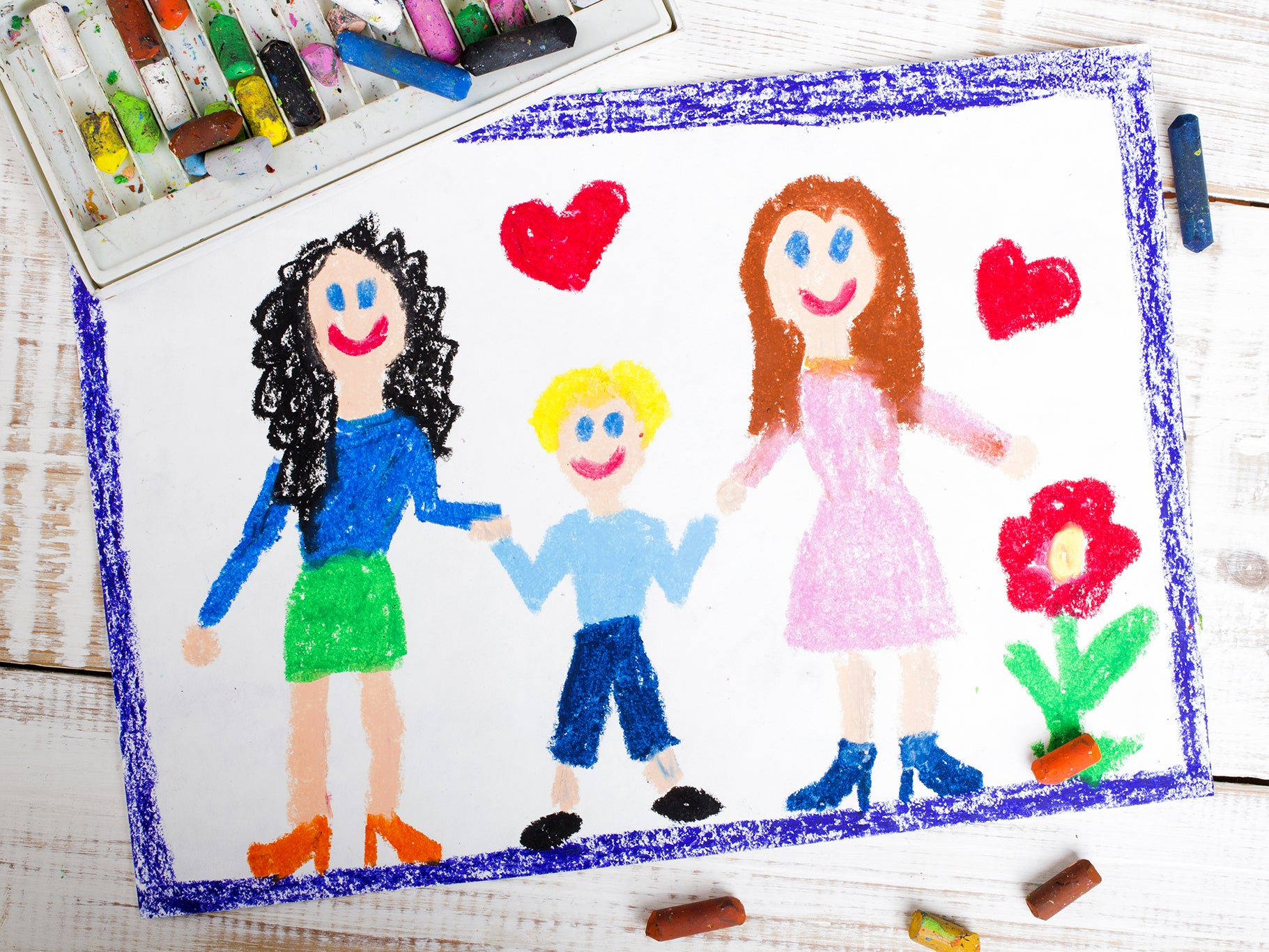 Kids Drawing of Lesbian Family