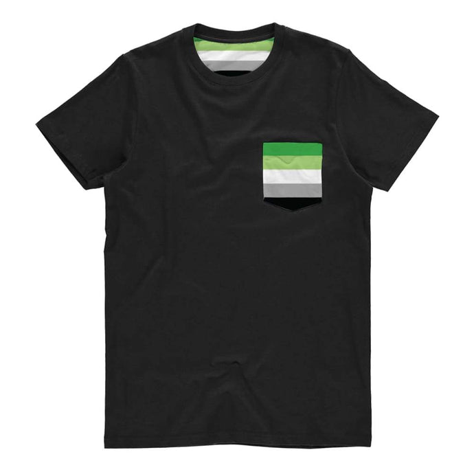 Aromantic Pride Flag Pocket T Shirt | Rainbow & Co