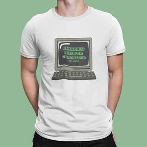 Man wearing White Binaries Are For Computers T Shirt