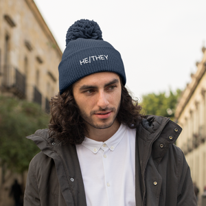 Navy Blue He/They Pronoun Bean Hat | Rainbow & Co
