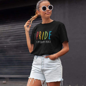Young Woman Wearing Pride is my Happy Place Shirt | Rainbow & Co
