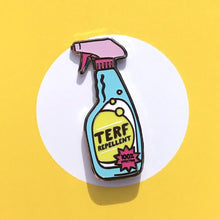 Load image into Gallery viewer, TERF Repellent Pin | Anti Terf Enamel Pin | Rainbow & Co