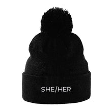 Load image into Gallery viewer, She Her Pronouns Beanie | Black | Rainbow & Co