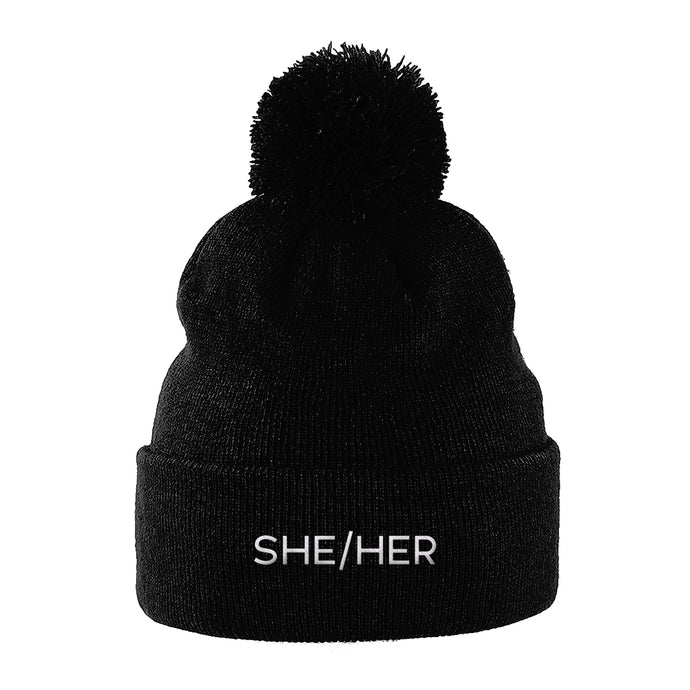 She Her Pronouns Beanie | Black | Rainbow & Co