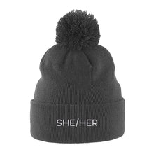 Load image into Gallery viewer, She Her Pronouns Pom Pom Beanie | Grey | Rainbow & Co