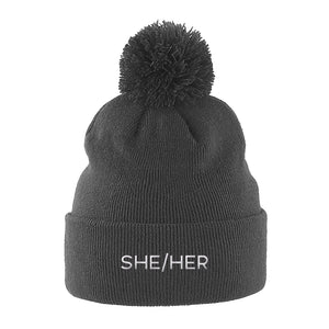 She Her Pronouns Pom Pom Beanie | Grey | Rainbow & Co