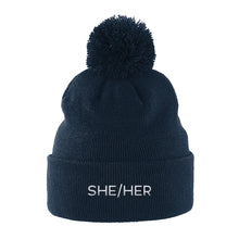Load image into Gallery viewer, She Her Pronouns Beanie | Navy | Rainbow & Co