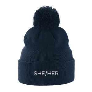 She Her Pronouns Beanie | Navy | Rainbow & Co