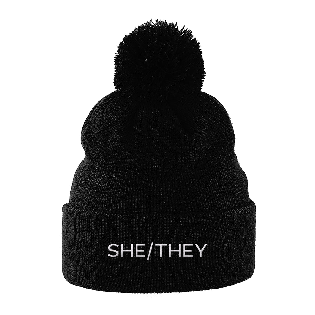 She/They Pronouns Beanie Hat | Black | Rainbow & Co