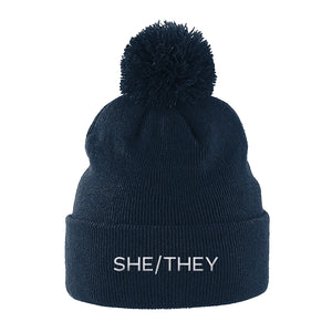 Navy She/They Pronouns Hat | Rainbow & Co