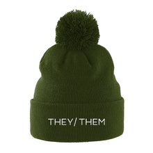 Load image into Gallery viewer, They Them Pronouns Pom Pom Beanie | Green | Rainbow & Co