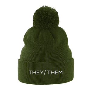 They Them Pronouns Pom Pom Beanie | Green | Rainbow & Co