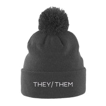 Load image into Gallery viewer, They Them Pronouns Beanie Hat | Grey | Rainbow & Co