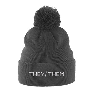 They Them Pronouns Beanie Hat | Grey | Rainbow & Co