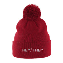 Load image into Gallery viewer, They Them Pronouns Beanie | Red | Rainbow & Co
