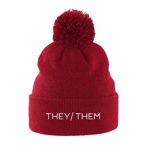 They Them Pronouns Beanie | Red | Rainbow & Co