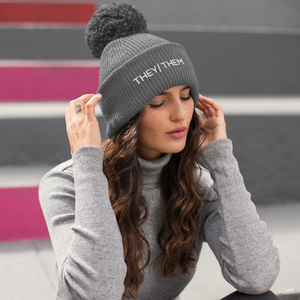 They Them Pom Pom Beanie Hat | Rainbow & Co