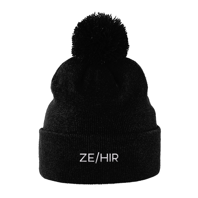Ze Hir Pronouns Beanie Hat | Black | Rainbow & Co