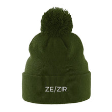 Load image into Gallery viewer, Ze Zir Pronouns Pom Pom Beanie | Green | Rainbow & Co