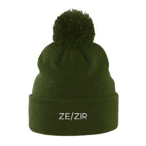 Ze Zir Pronouns Pom Pom Beanie | Green | Rainbow & Co