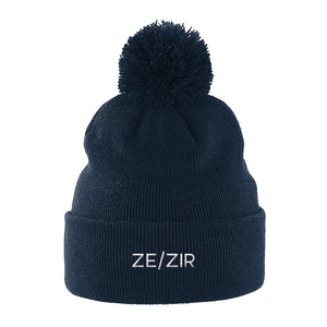 Ze Zir Pronouns Beanie | Navy | Rainbow & Co