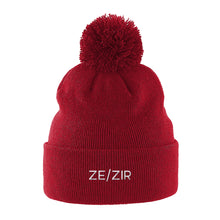 Load image into Gallery viewer, Ze Zir Pronouns Beanie Hat | Red | Rainbow & Co