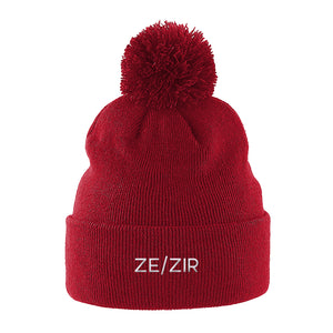 Ze Zir Pronouns Beanie Hat | Red | Rainbow & Co