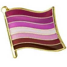 Load image into Gallery viewer, Lesbian Flag Pin | Rainbow & Co