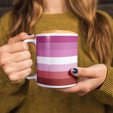 Load image into Gallery viewer, Lesbian Pride Flag Coffee Mug | Rainbow & Co