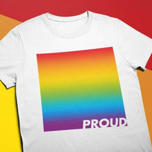 Load image into Gallery viewer, Proud LGBTQ+ Rainbow Flag T Shirt | Rainbow & Co