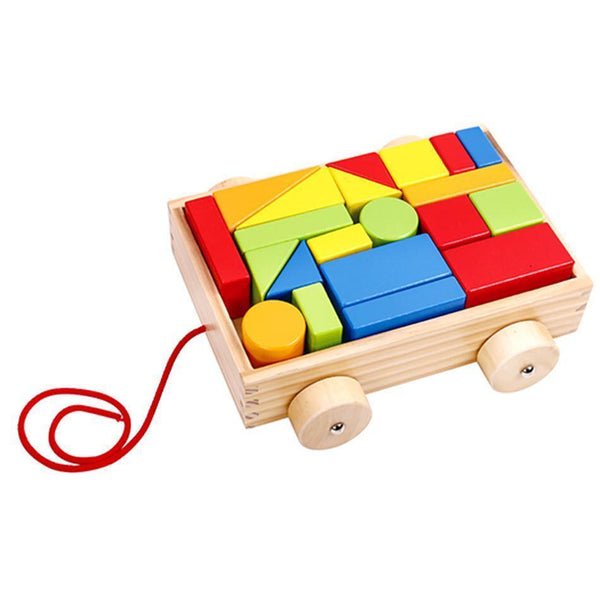 22 Piece wooden Blocks with Cart-Yarrawonga Fun and Games