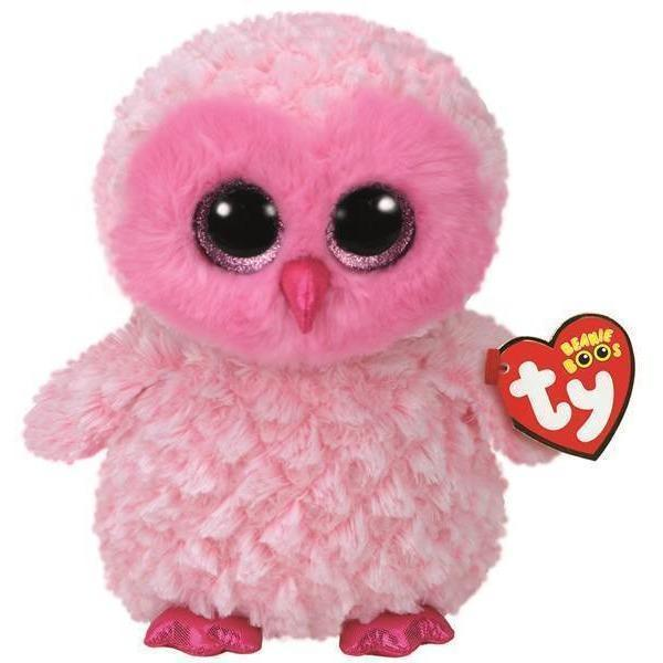 Beanie Boo - Medium - Pink Owl - Twiggy-Yarrawonga Fun and Games