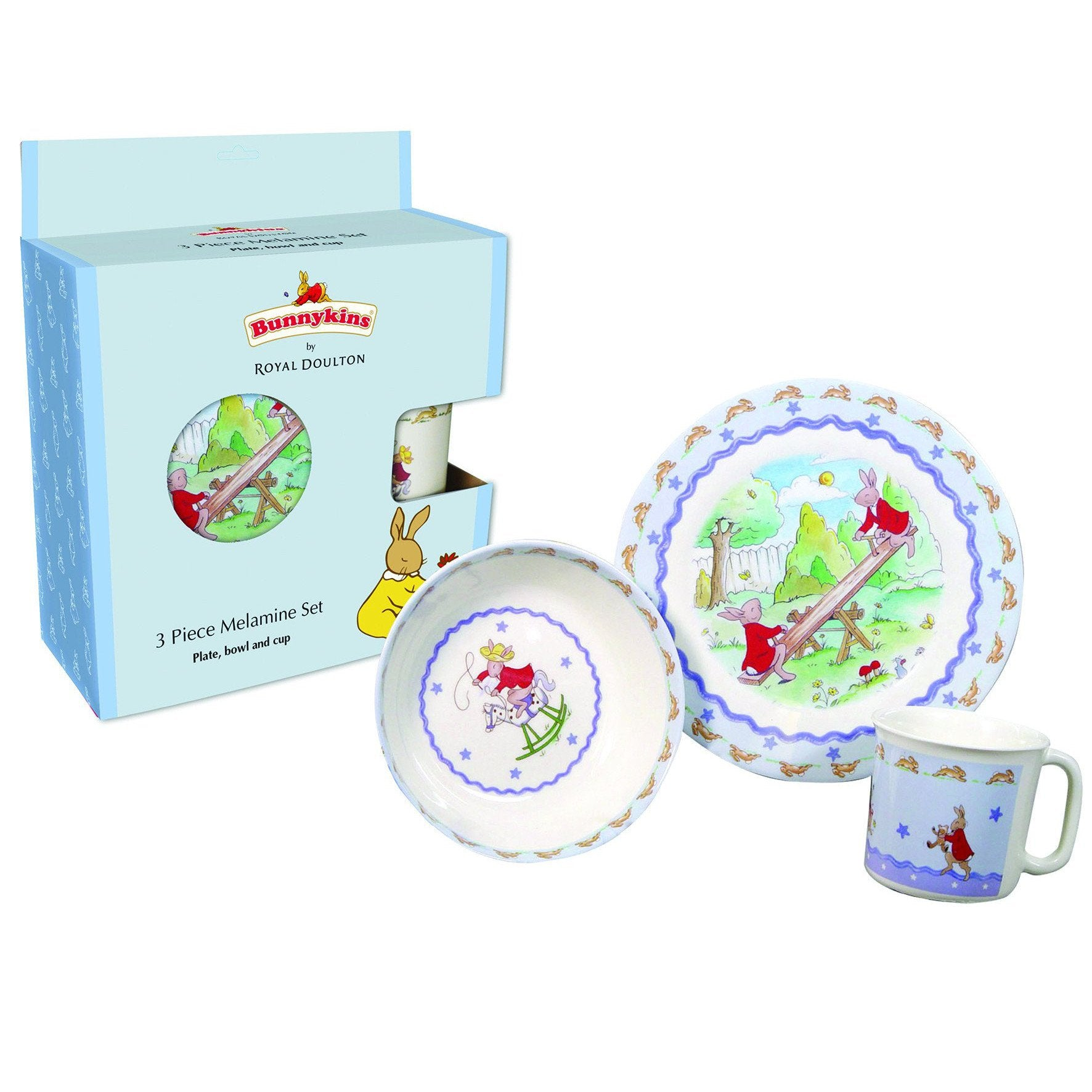 Bunnykins 3 Piece (Blue Box) Melamine Set-Yarrawonga Fun and Games.