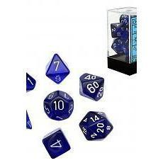 Chessex 7 Dice Sets-Translucent Blue/White-Yarrawonga Fun and Games