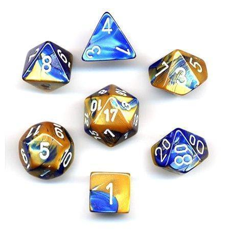 Chessex 7 Gemini Dice Sets-Blue-Gold/White-Yarrawonga Fun and Games