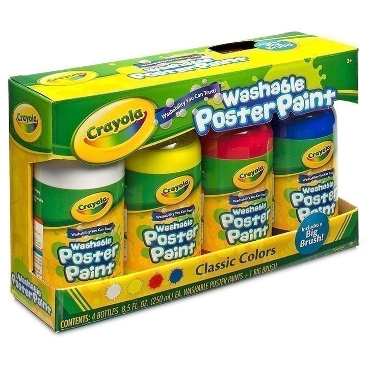 Crayola Washable Poster Paint - 4 Colours-Yarrawonga Fun and Games
