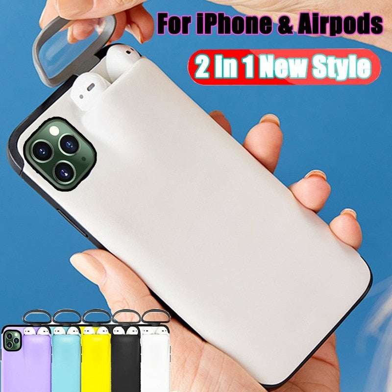 COQUE POUR IPHONE AIRPODS 2 EN 1