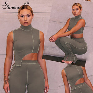 Ensemble crop top Pantalon taille haute fendus