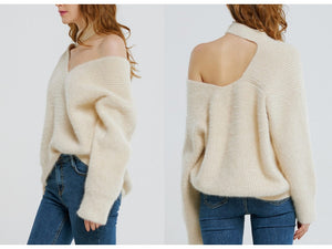 Pull-over en tricot d'epaule froide
