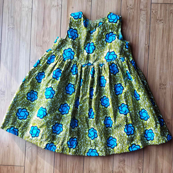 LuvBud Teal & Green Print Toddler Dress