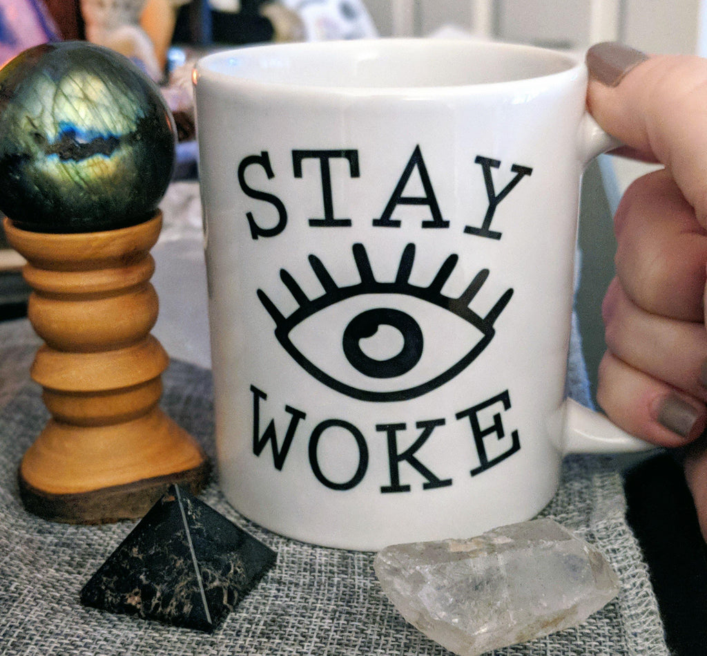 Stay Woke Eye White Mug - The Spirit Den