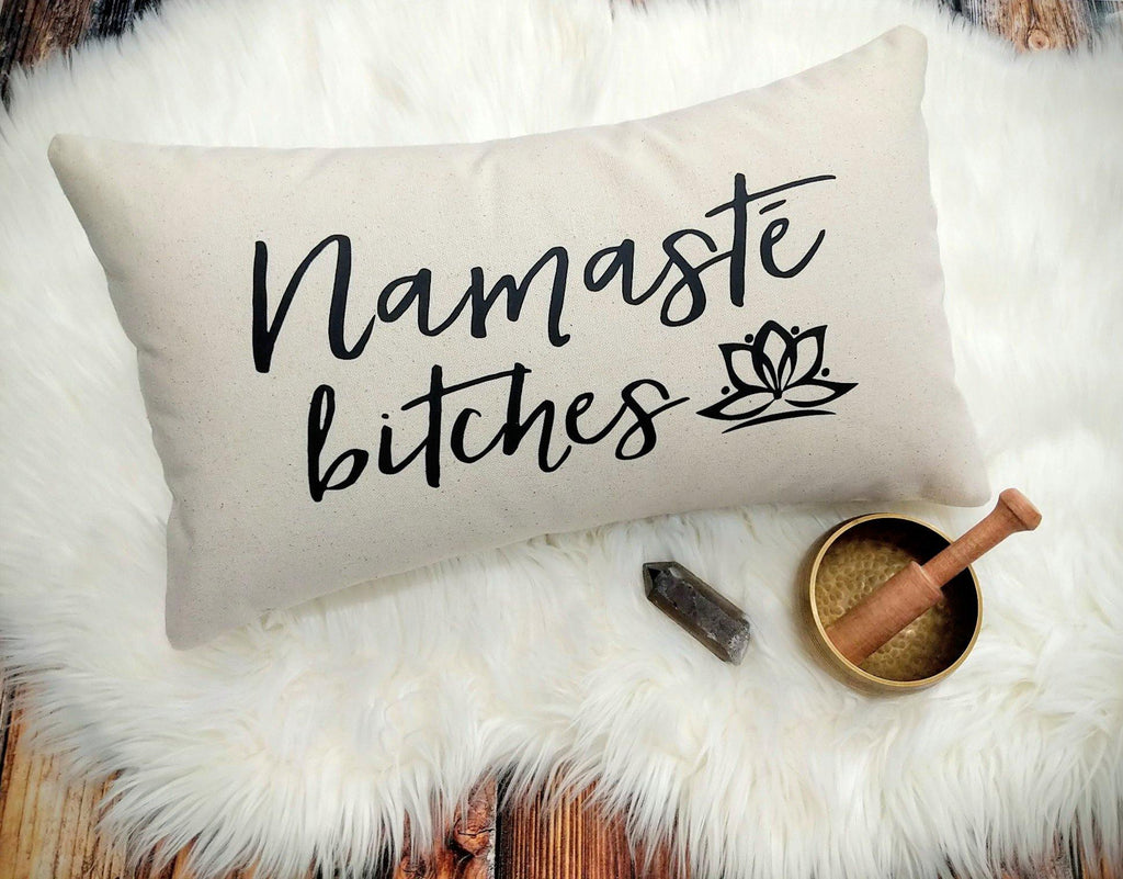 Namaste Bitches Script Cotton Canvas Natural Lumbar Pillow