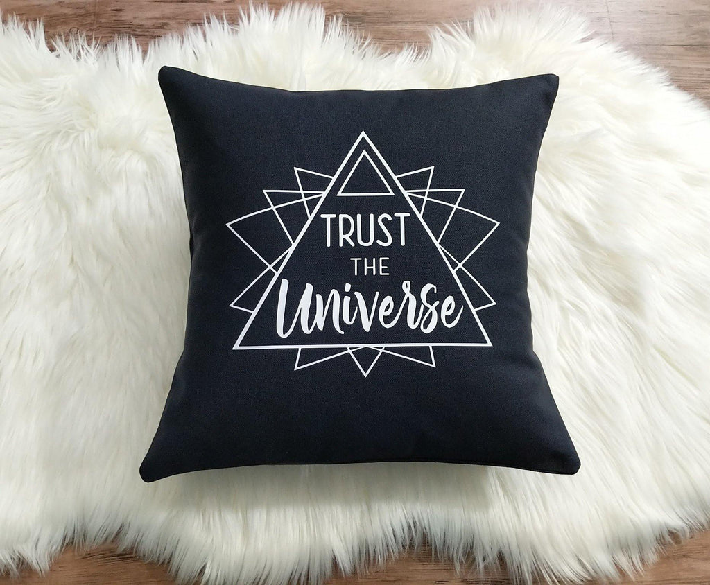 Trust The Universe Black Pillow