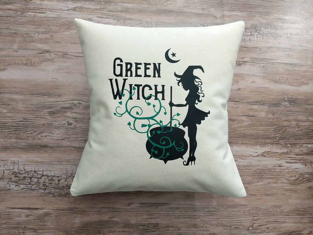 Green Witch Cotton Canvas Natural Pillow
