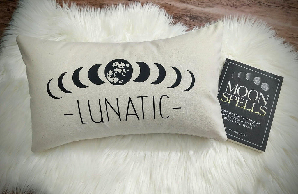 Lunatic Moon Phases Cotton Canvas Lumbar Pillow