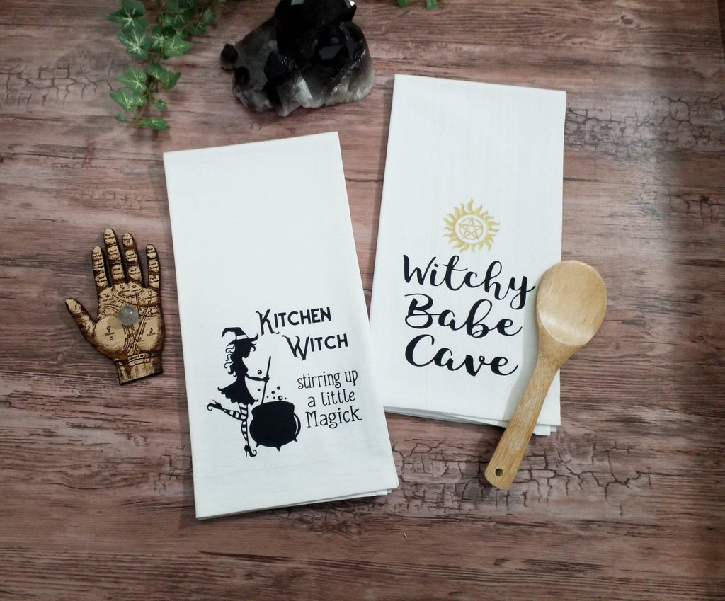Kitchen Witch Stirring up a Little Magick Flour Sack Towel