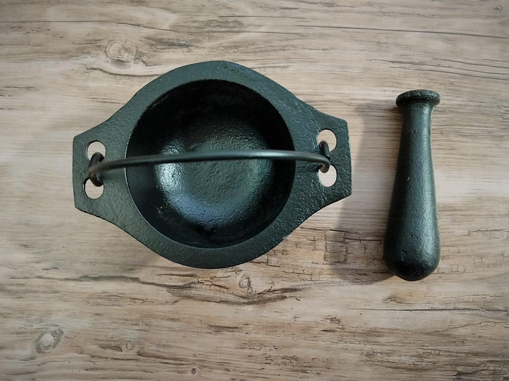 Black Cast Iron Mortar and Pestle Cauldron